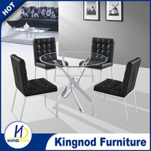 Modern glass round simple tempered Glass 4seater dinning table and chairs