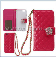 PU leather case for iphone 5/5S 6 Samsung S5 with card slot for lady