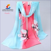 LINGHSANG new hot women's fashion long soft wrap lady shawl girl dress silk chiifon pringting scarf