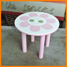 Easy integration antique home Korean cute pink flowers green paint wood stool baby stool legs Children