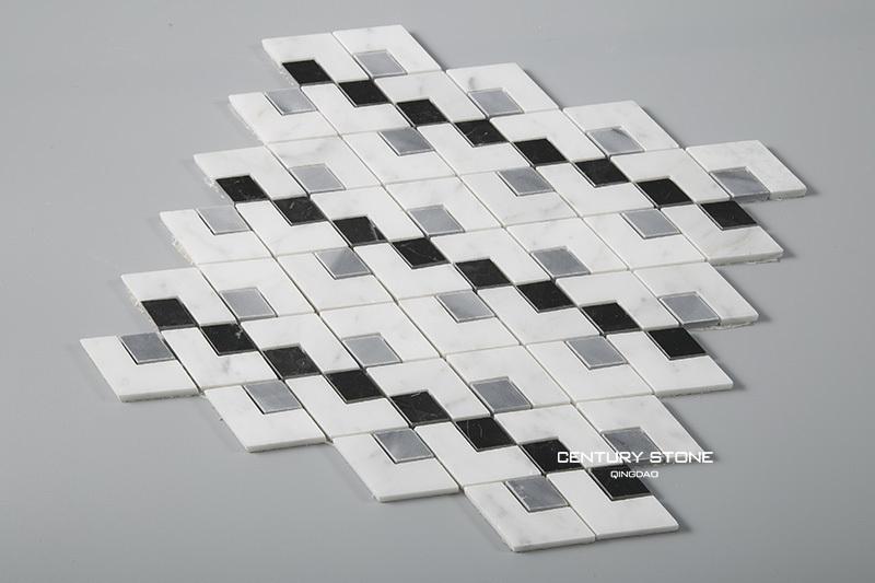 샤워 타일 이탈리아어 대리석 모자이크 흰 육각 바닥에 타일 ...