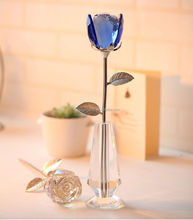 crystal glass vase with crystal glass flower for girl gift