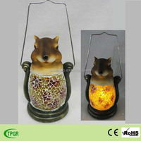 Polyresin squirrel and glass solar light for garden hand lantern