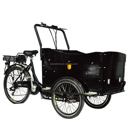 CE approved pedal assited family electric three wheel dutch cargo bakfiet bike for kids