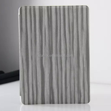 New Come Hot Sell wood grain Leather Smart Cover For ipad 6 Air 2 With good texture