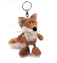customized fox shaped keychain plush animal keychain with EN71 certificate