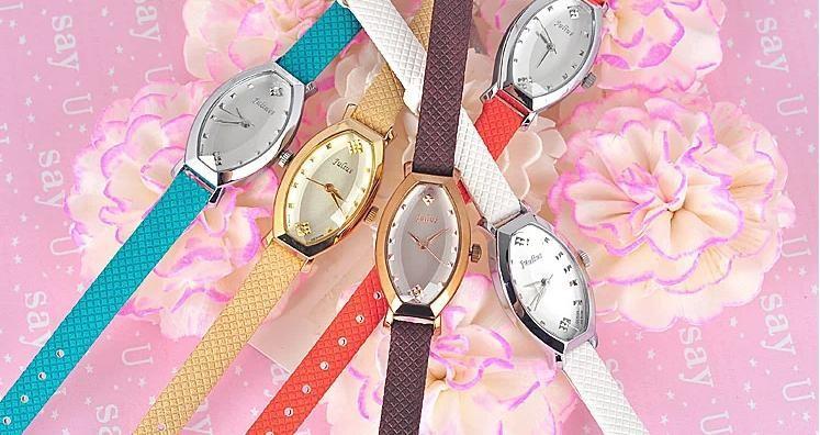 Женские Часы Япония Кварцевые Часы Часы Тонкой Моды Платье Браслет Группа ромб многоцветный Кожа Девушки Подарок На День Рождения коробка 652