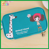 Encai Fashion Design Canvas Zipper Pen Bag/Student Cute Pencil Case/Promotional Gift Big Size Stationery Bag