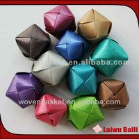 Shiny PP colorful woven decorative plastic christmas ball