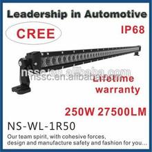 BEST NEWS! 250watt 50 inch led light bar single row 4*4 led bar 24v 50'' 250w offroad led lightbar for truck