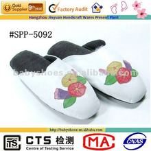 women shoe ornament morning glory pattern sheepskin indoor slippers