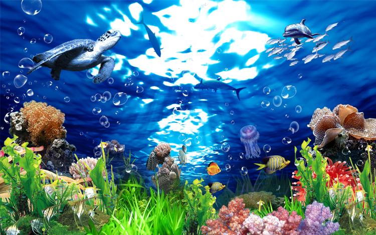 Deep Blue Sea Fish Wallpaper Scenery Deep-sea Fish 3d
