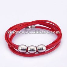 2012 fashion magnetic leather wrapped bracelet