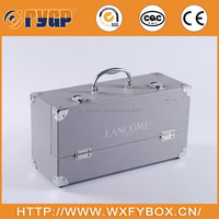 customized silver rectangle cosmetic box display for Lancome brand with 2 small boxes