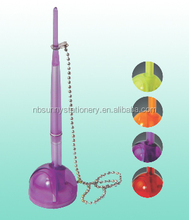 promotional bank pen with chain in purple color