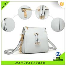 cheap white color long strap amphibious fashion PU shoulder bag for women
