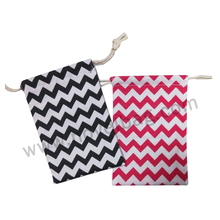 Small Cotton Drawstring Pouch Chevron Draw String Bag Custom Gift Package Bags