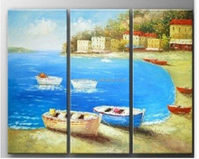 2015 Popular Item 3 Pieces Handmade Mediterranean Beach and Boat Oil Painting Canvas for Hotel Decoration
