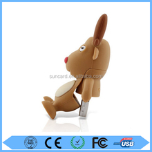 best selling Christmas gifts 2015 cute PVC animal shaped reindeer usb flash drive