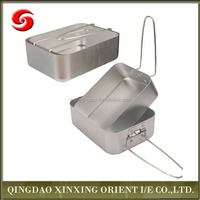 Easy carrying 2 piece camping aluminium nesting mess tins, military army nesting silver tin canteen lunch box