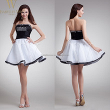 Short black and white rhinestone sequin beaded strapless party girls one piece dress