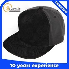 Plain blank suede & leather fabric snapback all kinds of hat and cap