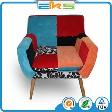 FABRIC UPHOLSTERED PU PVC LEATHER ROYAL CLASSIC FRENCH LEISURE LOBBY FURNITURE PATCH WORK RELEX ARMCHAIR