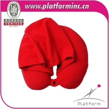 Fashion travel pillow with cap /microbead cuhsion pillow/hooded neck pillow