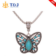 2015 New Design butterfly Shape Rhodium Plated Women girl Pendant Necklace /