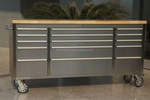 Stainless steel high end garage drawer tool box with whees & drawers & wooden top