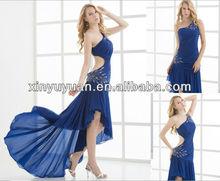 2013 sexy vestido de una sola- hombro con cuentas cristales de barrido tren vestido de noche xyy06-010