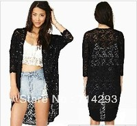 3/4 Sleeve Women's Ladies Black Floral Long Lace Cardigan Shirt Open Front Top 18635