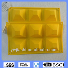 6 diamand tazas de silicona del molde de la torta, moldes de de la torta