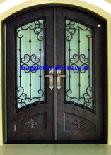 arch wrought iron double door steel main entry door with arch kick plate