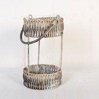 cheap candle glass holders with wicker decoration