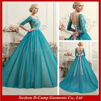 WD-1287 Lace up back pink sash turquoise wedding dress for muslim women syrian wedding dresses three-quarter sleeves