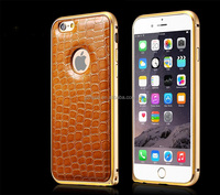 Aluminum metal bumper case+leather back top grade phone case for iphone 6 case