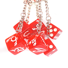 Red Dice Key Chain Ring Fob - for House/Home/Car/Truck/Bike Keys