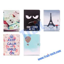 Upscale Wallet Style Magnetic Flip Stand TPU+ PU Leather Case for iPad Mini 2/3 - Eiffel Tower