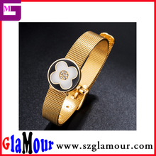 Hot Sale Gold Plated Stainless Steel Mesh Belt Bracelet with Four Leaf Clover