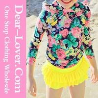 Wholesale Child Models Yellow Vivid Floral Print Sleeved 3Pcs Swimsuit