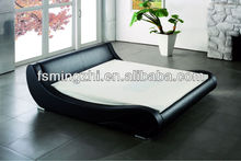 Romantic Black Leather Soft Bed EA1092
