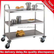 High quality 3 tier Restaurant serving cart stainless steel trolley, kitchen trolley price
