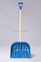 plastic snow shovel with wooden handle