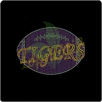Promotional Tigers football rhinestone transfer heat iron on crystal stone for clothing