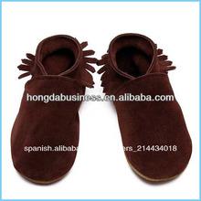 de cuero suave zapatos de bebé mocasín 2014