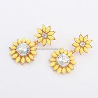 E1200 Free shipping earrings alloy square earrings Bohemian flower shaped Resin dangle earrings China wholesale websites