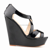 2015 fashion candy color wedge heel sandal shoes for ladies