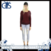 Hot Selling Causal Fit Long Sleeve Wine Red Knitted Winter Ladies Sweater