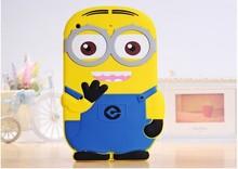 3D Cute Cartoon New arrival Despicable Me 2 Minion 3D Soft Silicone cover Case For Apple ipad mini 3/2/1 Rubber case